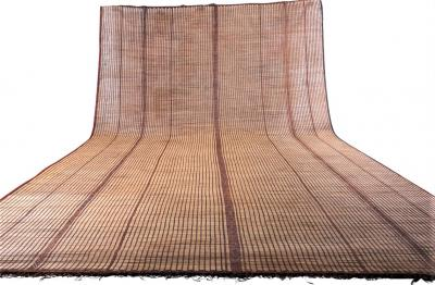 Large Vintage Tuareg Reed and Brown Leather Striped Rug North Africa 1960s
