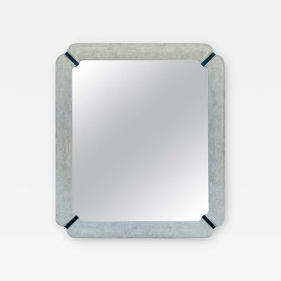 Large Wall Mirror in Tessellated Stone Bone and Brass