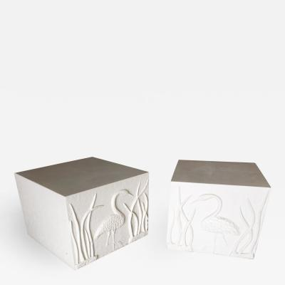 Large White Cube Pedestal Side Tables w Crane Relief Pair 1980s