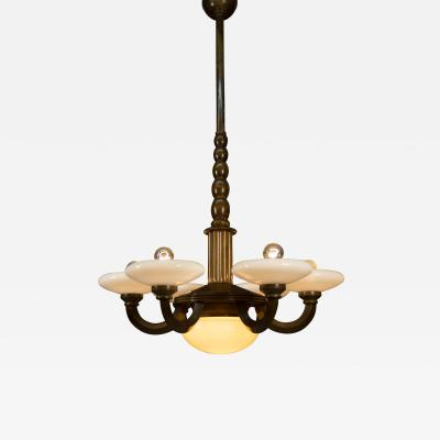 Large Wood and Glass Art Deco Chandelier 1930s