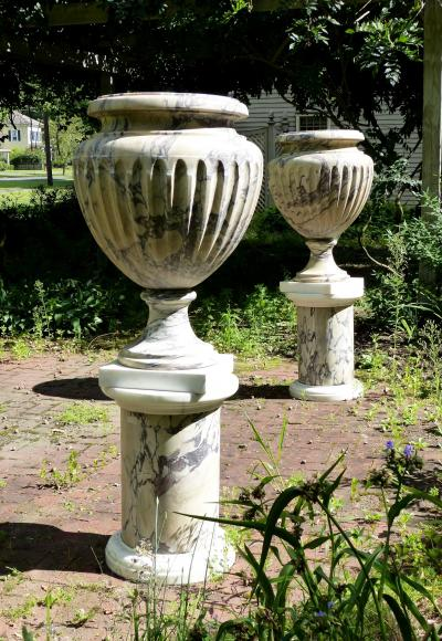 Large and Impressive Pair of Marble Urns