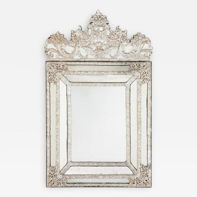 Large antique French silvered rectangular mirror