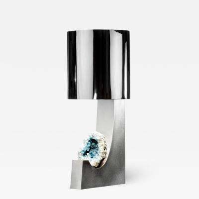 Large brushed and polished steel table lamp with celestite mineral detail