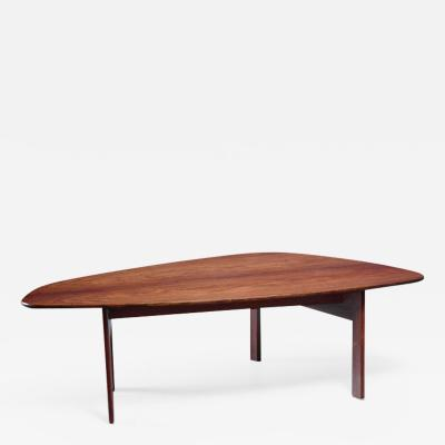 Large free form Danish rosewood coffee table 1960s