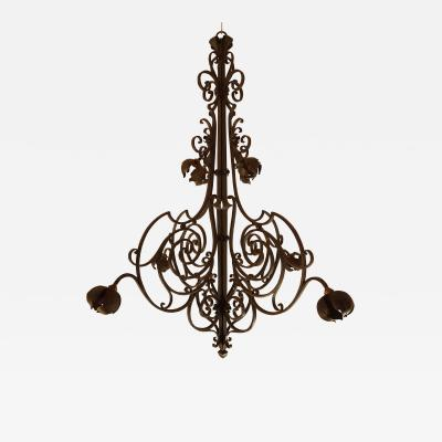 Large hand crafted wrought iron signed chandelier France 1920s