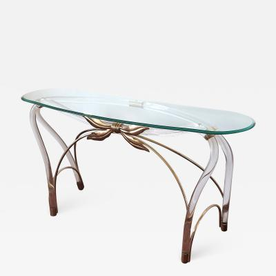 Large organic glass brass lucite Mid Century Modern console table Spain 1970s
