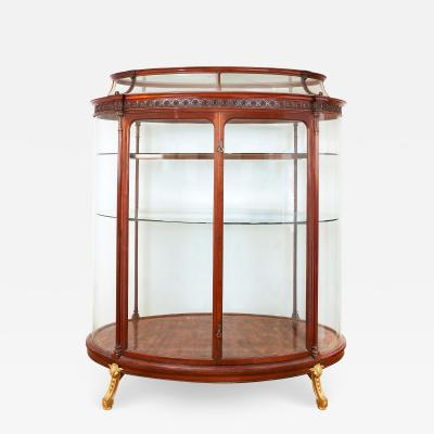 Large ormolu mounted mahogany and parquetry vitrine