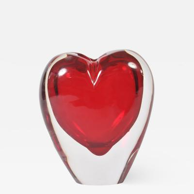 Large red Murano heart vase