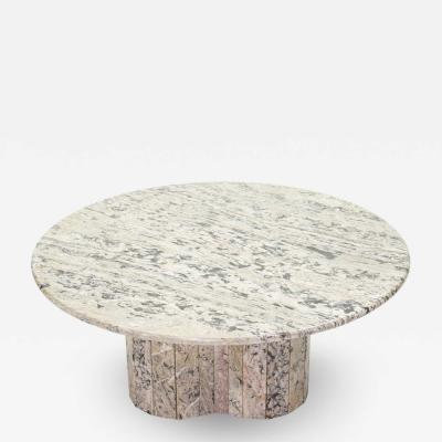 Large round coffee table made with white sicilian marble 1970s