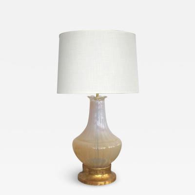 Large scaled Murano Mid century Butter cream Opaque Glass Lamp