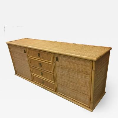 Large sideboard in bamboo and cannage Italy 1970