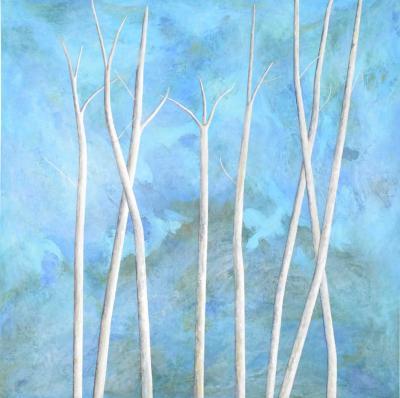 Larry Locke Larry Locke Original on Canvas Blue Green Impressionist