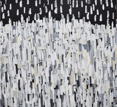 Larry Locke The Crowd 2 Acrylic on Canvas Dtd 2019