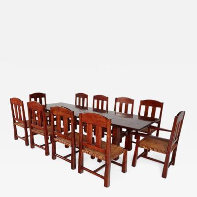 Larry Pearson Ricardo Paz Monumental Argentinian Algarrobo Wood Trestle Table and Ten Chairs