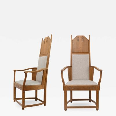 Lars Israel Wahlman Lars Israel Wahlman designed high back oak Swedish Arts Crafts armchairs