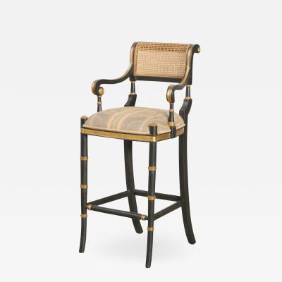 Las Palmas Collection Giltwood Ebonized Caned Barstool Mansfield