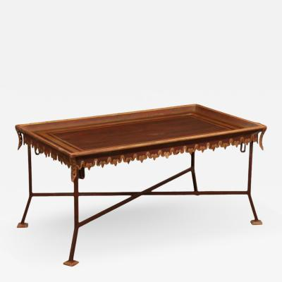 Las Palmas Collection Parcel Gilt Red Painted Tole Wrought Iron Coffee Table