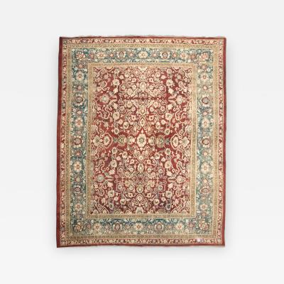 Last Quarter 19th Century Red and Green and Beige over Wool Agra Rug