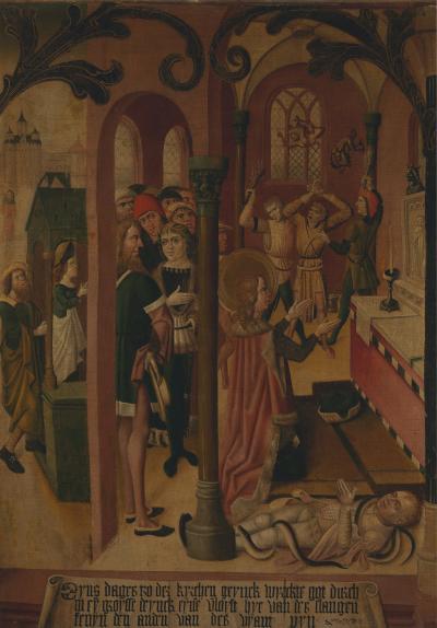 Late 15th C T chlein with Saint Egidius healing a Posessed Man