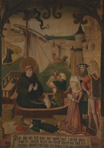 Late 15th C T chlein with Saint Egidius in a Boat