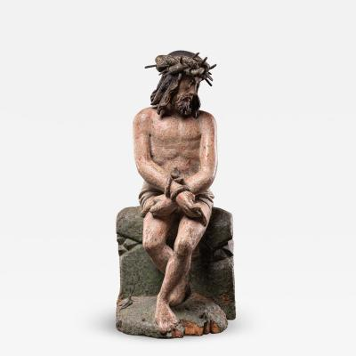 Late 16th C Polychromed wooden sculpture of Christ with the Crown of Thorns