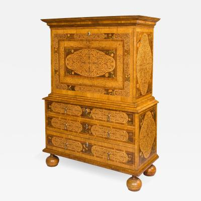 Late 17th Century European Walnut and Marquetry Secretary Cabinet