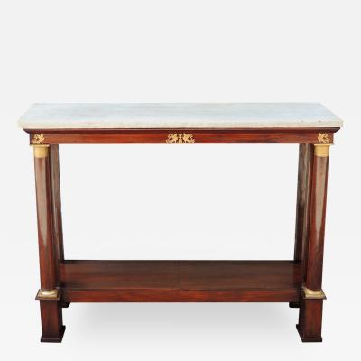 Late 18th C French Empire Mahogany and Marble Console Table