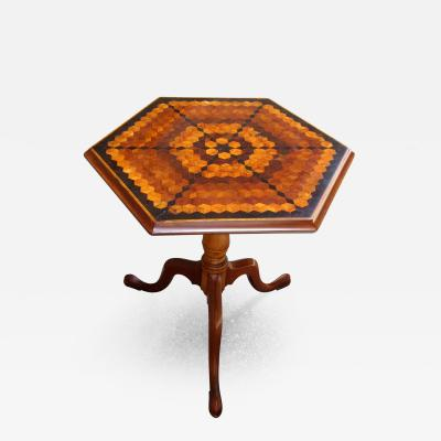 Late 18th Century English Neoclassical Hexagonal Specimen Tilt Top Table