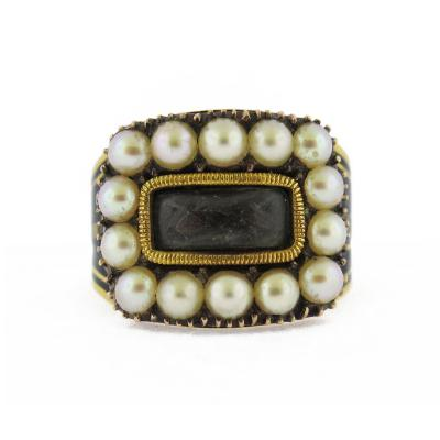 Late 18th Century Pearl and Enamel Morning Ring