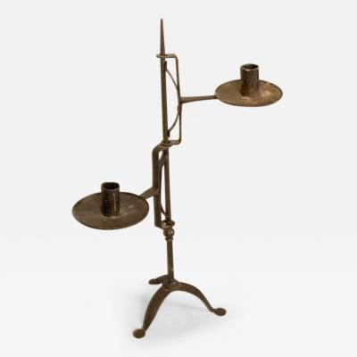 Late 18th Early 19th Century American Forged Iron Candle Stand Prob RI