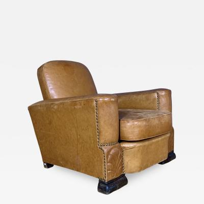 Late 1930s Cognac Leather Club Chair Continental