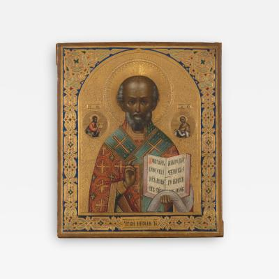 Late 19th C Polychrome Russian Icon of Saint Sergius