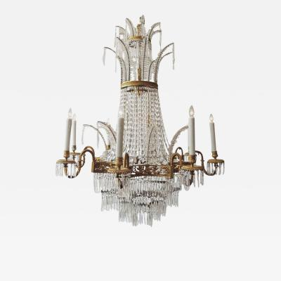 Late 19th C Russian Empire Bronze and Crystal Chandelier