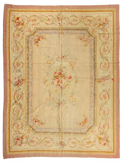 Late 19th Century Antique Ivory and Beige Floral French Aubusson Tapestry Rug