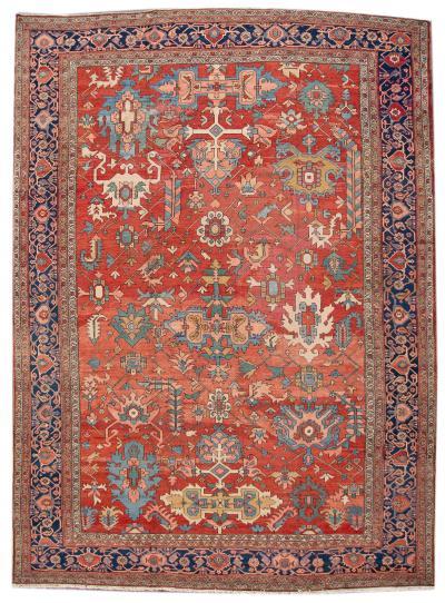 Late 19th Century Antique Serapi Oversize Wool Rug 11 X 16