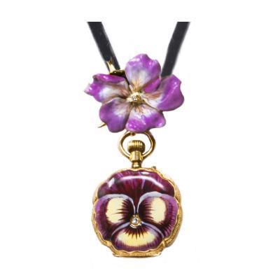 Late 19th Century Art Nouveau Diamond Enamel Pansy Brooch Pendant Necklace Watch