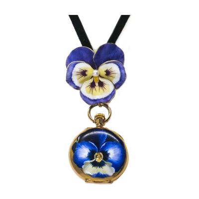 Late 19th Century Art Nouveau Diamond Enamel Pansy Brooch Pendant Necklace Watch