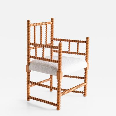 Late 19th Century Bobbin Chair in Beech and Ivory Dedar Boucl Fabric