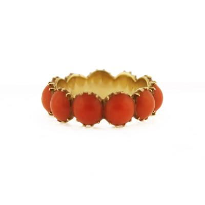 Late 19th Century Coral Eternity Gold Ring