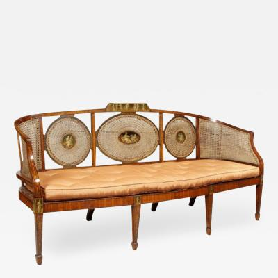 Late 19th Century Edwardian Satinwood and Painted Settee