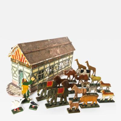 Late 19th Century Flat Bottom Toy Noahs Arc with Animals German