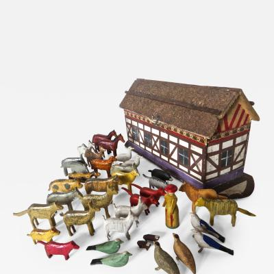 Late 19th Century Flat Bottom Toy Noahs Ark with 37 Animals German Circa 1890