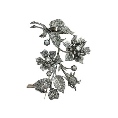 Late 19th Century French Diamond Silver and Gold En Tremblant Flower Brooch