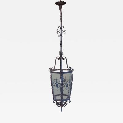 Late 19th Century French Gothic Hand Wrought Iron Lantern