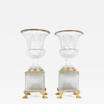 Late 19th Century Gilt Bronze Cut Glass Vases Centerpieces