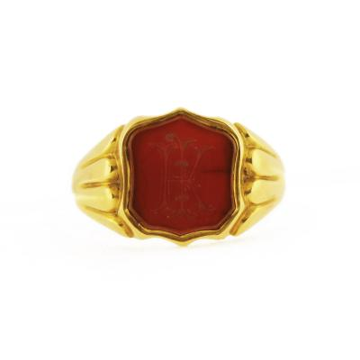 Late 19th Century Intaglio Carnelian Signet Ring