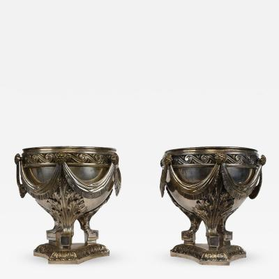 Late 19th Century Louis XVI style Pair of Silver Plated Bronze Urns