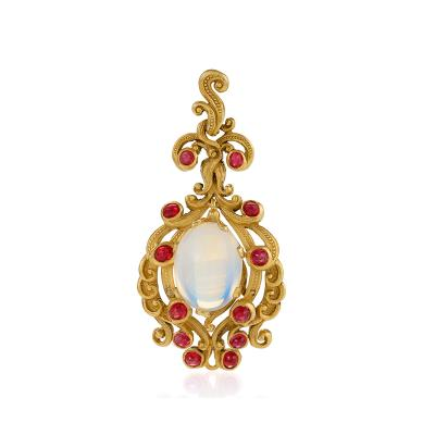 Late 19th Century Moonstone Ruby and Gold Pendant