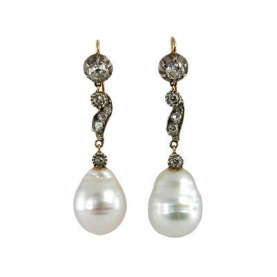 Late 19th Century Pearl and Diamond Earrings