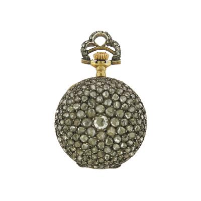 Late 19th Century Rose Cut Diamond Pocket Watch Pendant